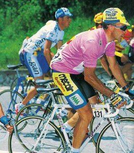M.Argentin (Mecair Ballan) in maglia rosa at the Giro 1993