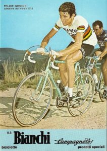 Felice Gimondi on his Bianchi Specialissima Professionale back in 1974