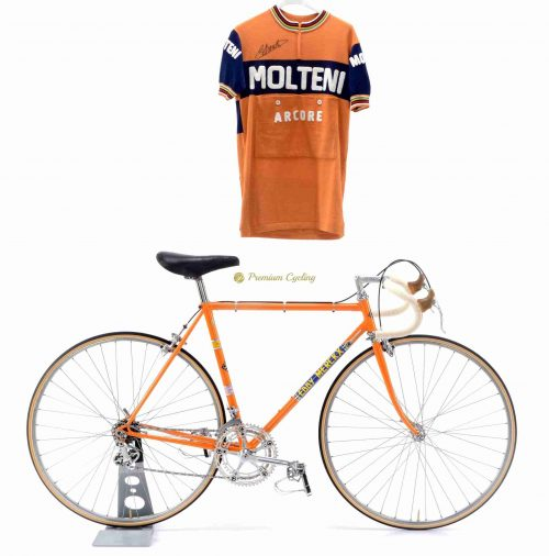 1973 COLNAGO Super Eddy Merckx Molteniwith Molteni wool jersey, Eroica vintage steel collectible bike