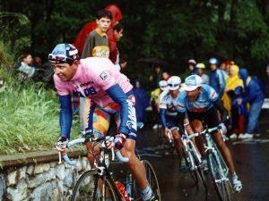 Tony Rominger in maglia rosa Giro d'Italia 1995