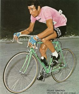 Felice Gimondi (Bianchi Campagnolo Team) in maglia rosa at the Giro di Italia 1976