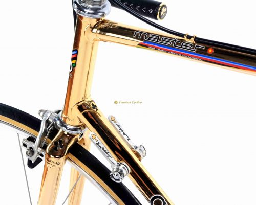 COLNAGO Master Oro, 24k gold plated, Campagnolo Super Record, luxury vintage steel collecitble bike by Premium Cycling