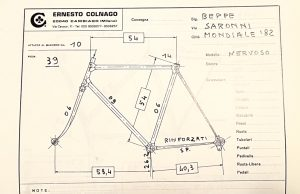 Saronni's frame geometry from Ernesto Colnago's book